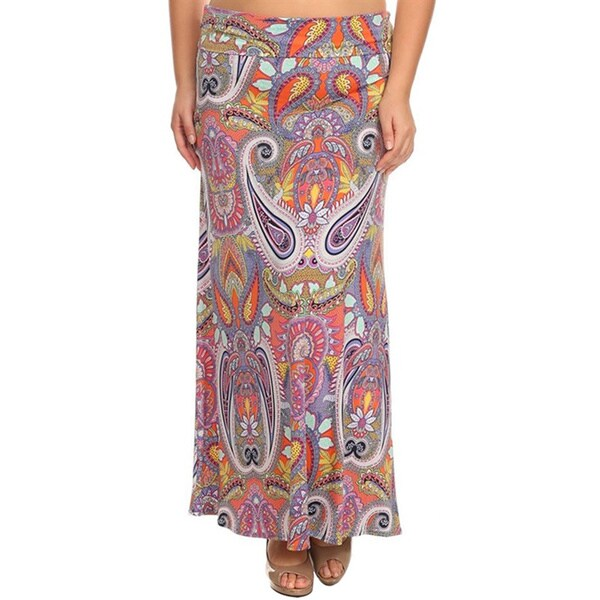 Moa Women's Plus Size Pink Paisley Maxi Skirt