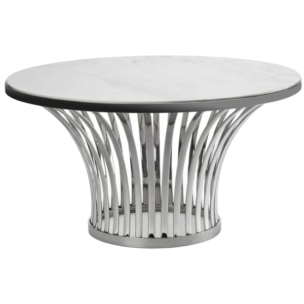 Safavieh Couture Collection Blake White/ Grey Marble Stainless Steel Table