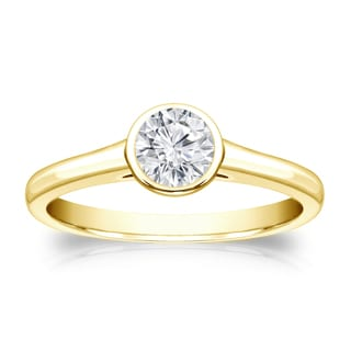 Auriya 14k Gold 1/3ct TDW Round-cut Diamond Solitaire Bezel Engagement Ring (H-I, VS1-VS2)