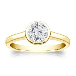 Auriya 14k Gold 1/2ct TDW Round-cut Diamond Solitaire Bezel Engagement Ring (H-I, VS1-VS2)