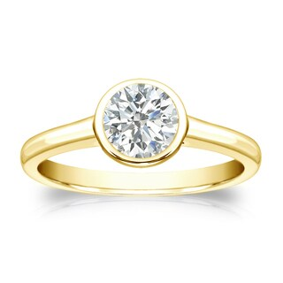 Auriya 14k Gold 1/2ct TDW Round-cut Diamond Solitaire Bezel Engagement Ring (I-J, SI1-SI2)