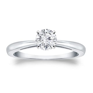 Auriya 14k Gold 1/3ct TDW Round-cut Diamond Solitaire Engagement Ring (H-I, VS1-VS2)
