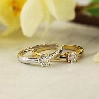 Auriya 14k Gold 1/3ct TDW Round-cut Diamond Solitaire Engagement Ring (J-K, I1-I2)