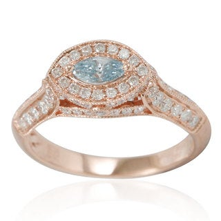 Suzy Levian 14k Rose Gold 1ct TDW Blue/ White Diamond Marquise Ring