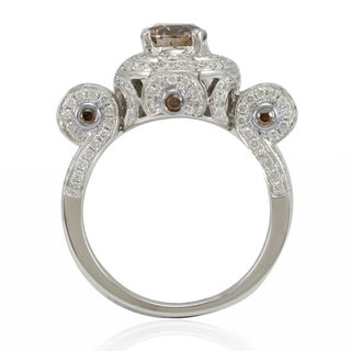 Suzy Levian 14k White Gold and 2 1/10ct TDW Brown/ White Diamond Engagement Ring