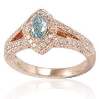 Suzy Levian 14k Rose Gold 1 1/6ct TDW Blue/ White Diamond Marquise Ring