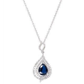 EFFY Final Call 14k White Gold Ceylon Sapphire and 1/2ct TDW Diamond Pendant (D-E,VS1-VS2)