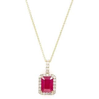 EFFY Final Call 14k Gold Glass-filled Ruby and 1/4ct TDW Diamond Pendant (D-E,VS1-VS2)