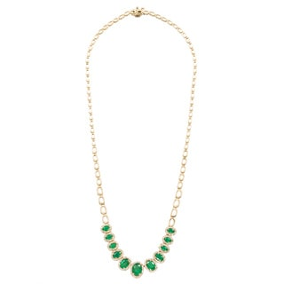 EFFY Final Call 14k Gold 4/5ct TDW Diamond Emerald Necklace (D-E,VS1-VS2)