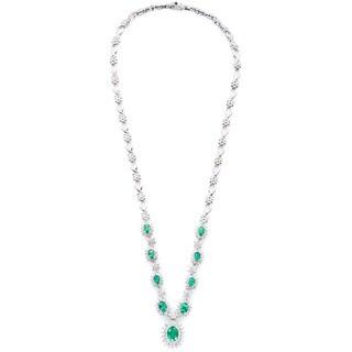 EFFY Final Call 14k White Gold 1 4/5ct TDW Diamond Zambian Emerald Necklace (D-E,VS1-VS2)