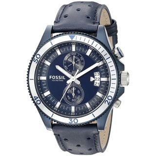 Fossil Men's CH3012 'Wakefield' Chronograph Blue Leather Watch