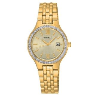 Seiko Ladies SUR756 Stainless Steel Gold Tone Water Resistant Watch with Austrian Crystals