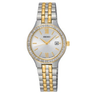 Seiko Women's SUR758 Stainless Steel Two Tone Water Resistant Watch with Austrian Crystals