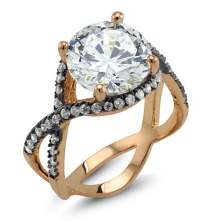 18k Two-tone Gold Round-cut Cubic Zirconia 'Frances' Ring
