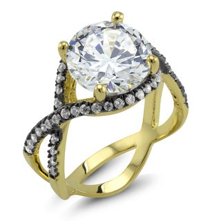 18k Two-tone Round-cut Cubic Zirconia 'Frances' Ring