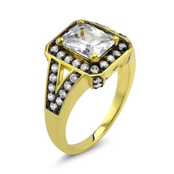 18k Two-tone Gold Radiant-cut Cubic Zirconia 'Grace' Ring