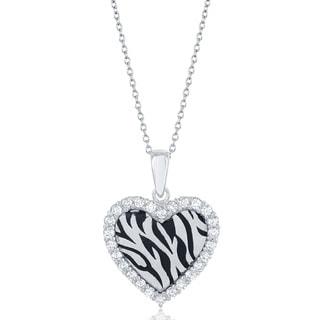 La Preciosa Sterling Silver Cubic Zirconia Heart Zebra Stripe Necklace
