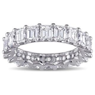 Miadora Signature Collection 18k White Gold 5 1/5ct TDW Emerald-cut Diamond Eternity Ring (F-G, VS1-VS2) (IGI Certified)