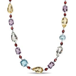 Miadora Signature Collection 14k White Gold Multi-gemstone Station Necklace