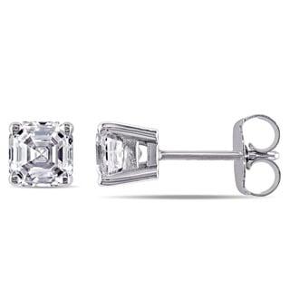 Miadora Signature Collection 14k White Gold 1 1/2ct TDW Asscher-cut Diamond Solitaire Stud Earrings (G-H, VS1-VS2)