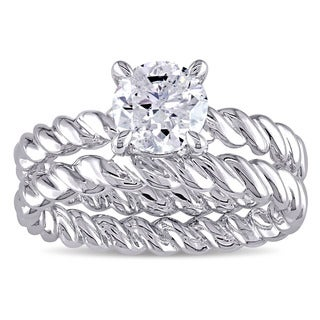 Miadora Signature Collection 14k White Gold 1ct TDW Diamond Solitaire Bridal Ring Set (J-K, I2-I3)