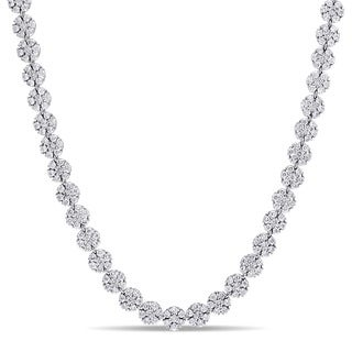 Miadora Signature Collection 14k White Gold 15 3/8ct TDW Diamond Cluster Tennis Necklace (G-H, SI1-SI2)