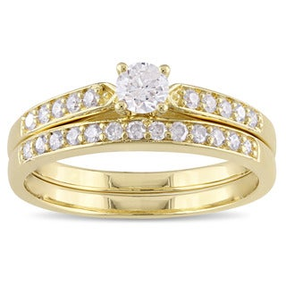 Miadora Yellow Plated Sterling Silver 1/2ct TDW Diamond Bridal Ring Set (G-H, I2-I3)