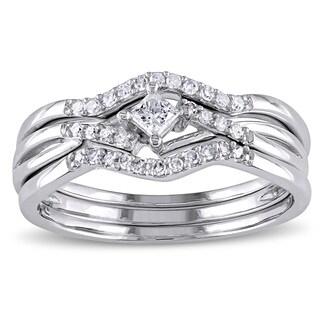 Miadora 10k White Gold 1/4ct TDW Princess-cut Diamond Bypass Bridal Ring Set (G-H, I2-I3)