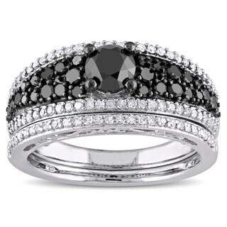 Miadora Sterling Silver 1 1/4ct TDW Black and White Diamond Bridal Ring Set (G-H, I2-I3)