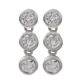 Sterling Silver Bezel Cubic Zirconia Bubble Earrings
