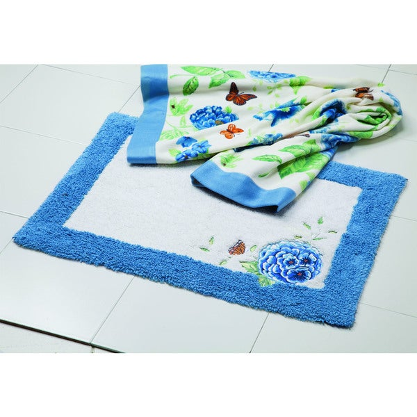 Lenox Blue Floral Garden Embroided and Applique Tufted Bath Rug