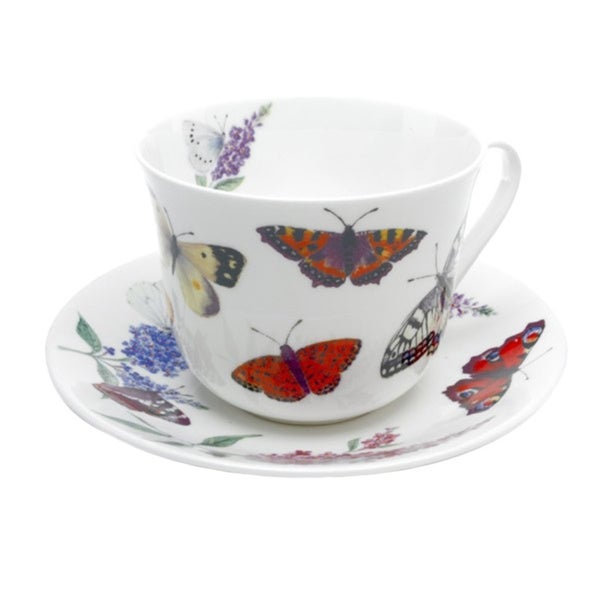 Roy Kirkham Butterfly Garden Breakfast Cup/ Saucers (Set of 2) 17280575