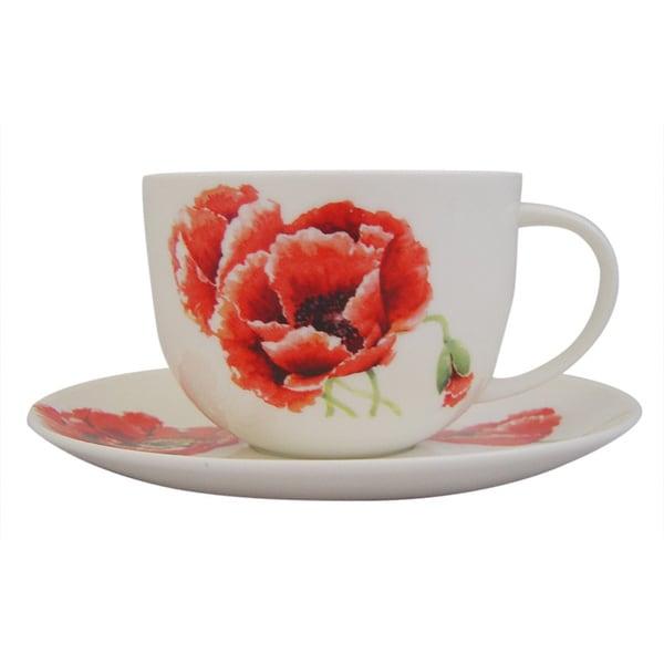Roy Kirkham Garden Poppy Breakfast Cups/ Saucer (Set of 2) 17280581