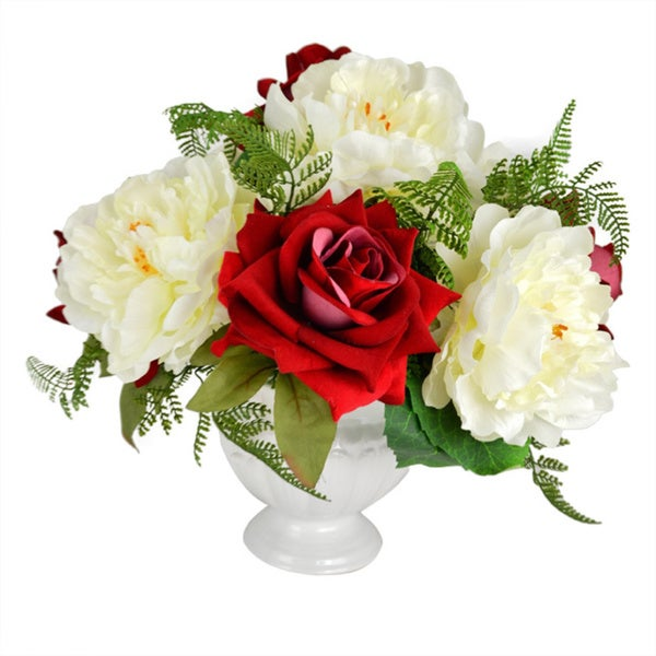 "Valentine's Day 14"" Red Rose & White Peony Faux Floral"
