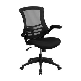 Offex Mid-back Black Mesh Swivel Task Chair With Padded Seat And Flip-Up Arms