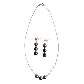 14k Yellow Gold Black Sea Pearls Necklace and Earring Set (8 mm)