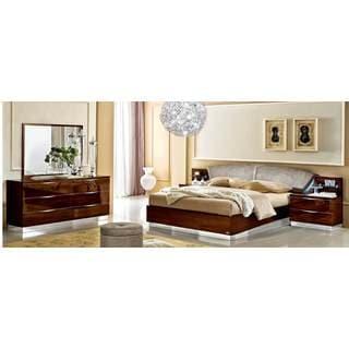 Luca Home Walnut 3-piece Queen Bedroom Set