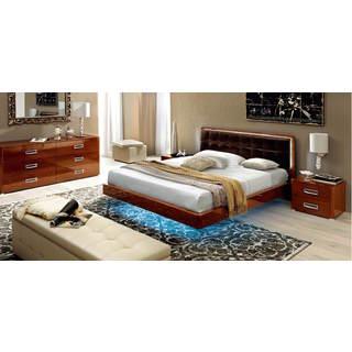 Luca Home Walnut 3-piece Platform Queen Bedroom Set