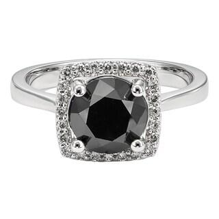 Unending Love 10k White Gold 3 1/7ct TDW Black and White Diamond Engagement Ring (I-J, I2-I3 )