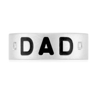 Unending Love Men's Stainless Steel Diamond Accent 'Dad' Ring