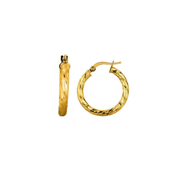 14k Yellow Gold Polish Finished 15mm Etched Hoop Earrings With Hinge With Notched Closure