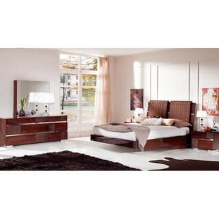 Luca Home Walnut Queen Bedroom Set