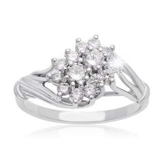 2Be Bonded Together 10k White Gold 1/2ct TDW Two Diamond Plus Cluster Ring (I-J I1-I2)