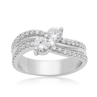 2Be Bonded Together 14k White Gold 1ct TDW Two Diamond Plus Ring (I-J I1-I2)