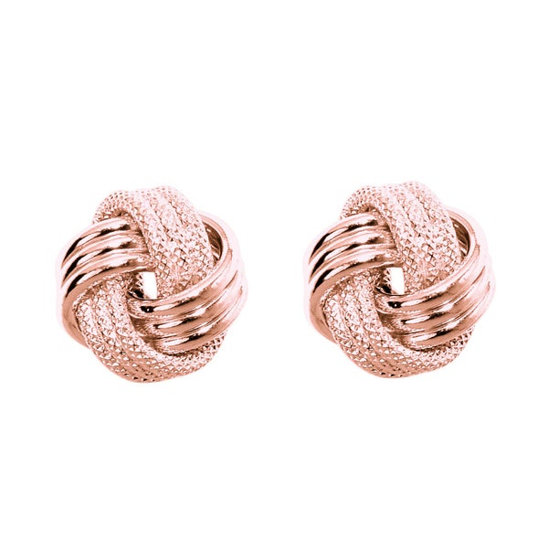 14k Rose Gold Polish Finished 9mm Multi-Textured Love Knot Stud Earrings With Friction Backs