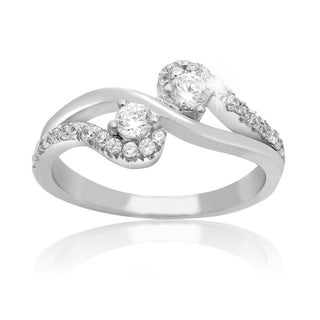 2Be Bonded Together 10k White Gold 1/2ct TDW Two Diamond Plus Ring (I-J I1-I2)
