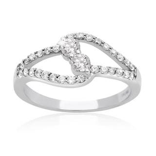 10k White Gold 1/2ct TDW Two Diamond Plus Ring (I-J I1-I2)