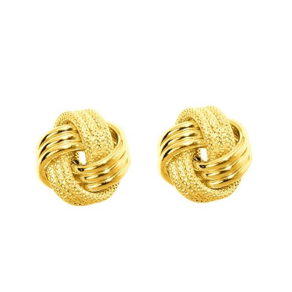 14k Yellow Gold Polish Finished 9mm Multi-Textured Love Knot Stud Earrings With Friction Backs
