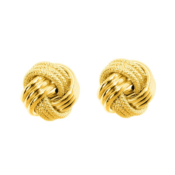14k Yellow Gold Polish Finished 10mm Multi-Textured Love Knot Stud Earrings With Friction Backs