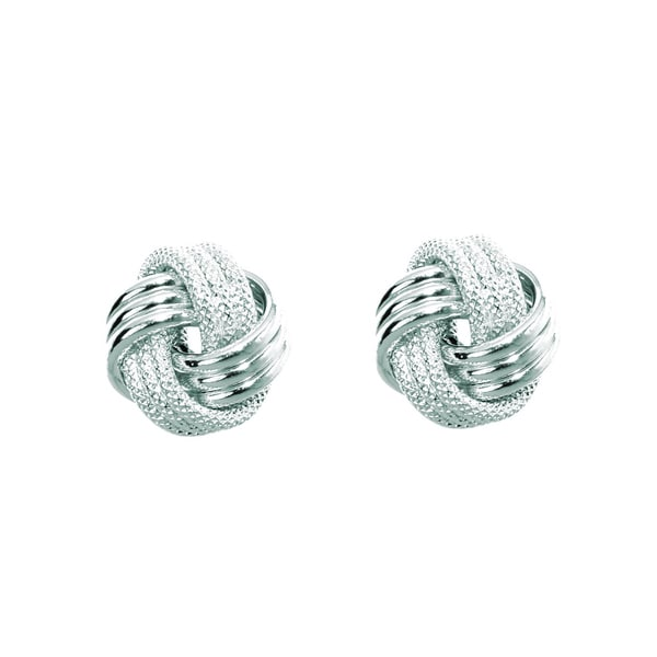 14k White Gold Polish Finished 9mm Multi-Textured Love Knot Stud Earrings With Friction Backs